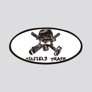Riveted Metal Oilfield Trash Skull Patches